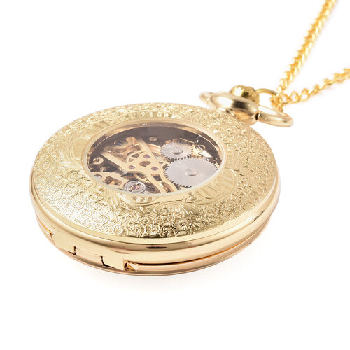 GENOA Automatic Mechanical Hollow-Out Star Pattern Skeleton Pocket Watch with Chain in Gold Tone
