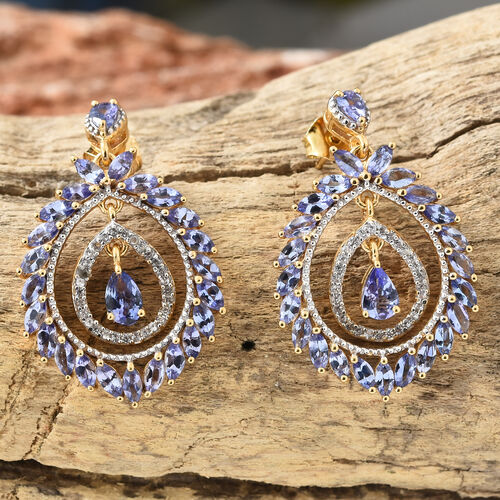 Tanzanite (Pear), Natural Cambodian Zircon Earrings (With Push Back) in 14K Gold Overlay Sterling Silver 5.500 Ct, Number Of Gemstone 108