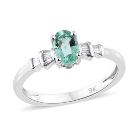 9K White Gold AA Boyaca Colombian Emerald (Ovl), Diamond Ring  0.500 Ct