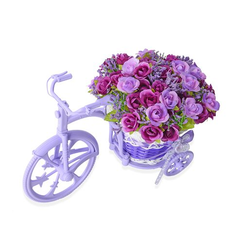 Home Decor - Nostalgic Bicycle with Artificial Flower Decor Plant Stand (Size 26x13x18 cm) - Colour Light and Dark Purple