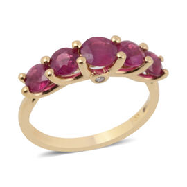 ILIANA 2 Carat AAAA Burmese Ruby and Diamond 5 Stone Ring in 18K Yellow Gold 3 grams SI GH