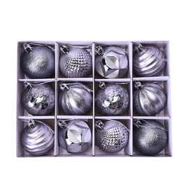 12 Piece Set Christmas Decoration Balls (Size 5.5mm) in the Gift Box - Grey