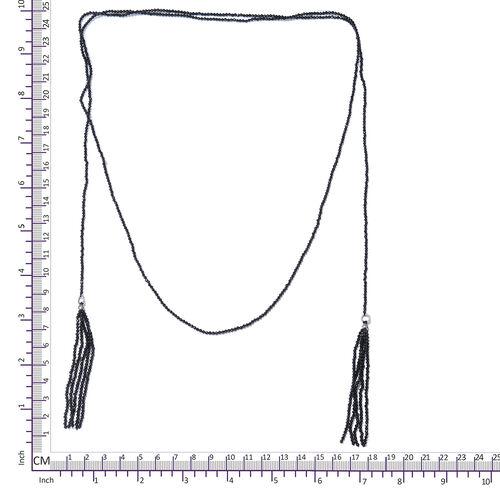 Designer Inspired-Boi Ploi Black Spinel (Rnd) Endless Necklace (Size 50) in Platinum Overlay Sterling Silver 75.000 Ct.
