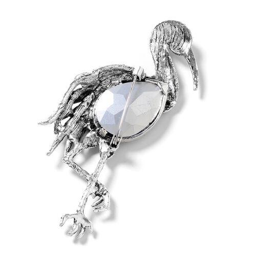 Simulated Amethyst (Pear), Multi Colour Austrian Crystal Crane Brooch in Silver Tone.