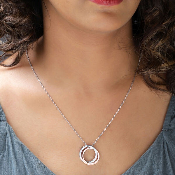 Personalised Engraved Interlocked Necklace  in Silver