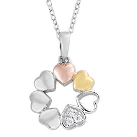J Francis - Platinum Overlay Sterling Silver (Rnd) Heart Pendant With Chain (Size 20) Made With SWAROVSKI ZIRCONIA