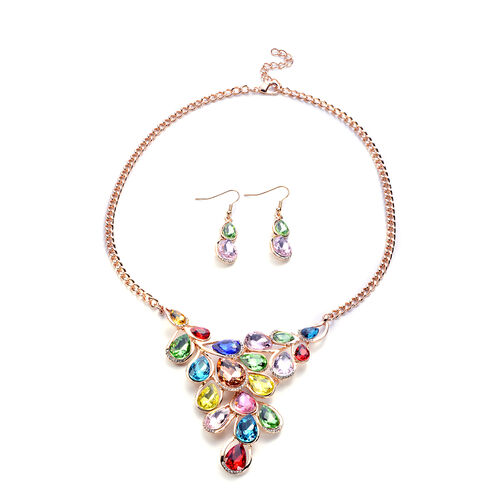 2 Piece Set - Multi Colour Austrian Crystal Necklace (Size 22 with Extender) and Hook Earrings in Go