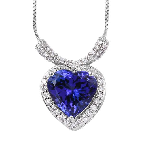 RHAPSODY 950 Platinum AAAA Tanzanite and Diamond (VS /E-F) Heart Pendant with Chain (Size 18) 2.00 C