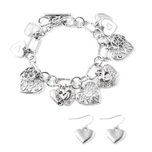 2 Piece Set - White Austrian Crystal Enamelled Heart Charm Bracelet (Size 9) and Hook Earrings in Si