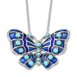 Arizona Sleeping Beauty Turquoise (Rnd), Natural Cambodian Zircon Enameled Butterfly Pendant with Chain in Platinum Overlay Sterling Silver 2.500 Ct. Silver wt 13.50 Gms.