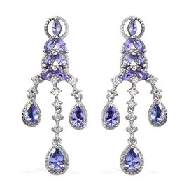3 Carat Tanzanite and Zircon Floral Drop Earrings in Platinum Plated Sterling Silver 5.50 Grams
