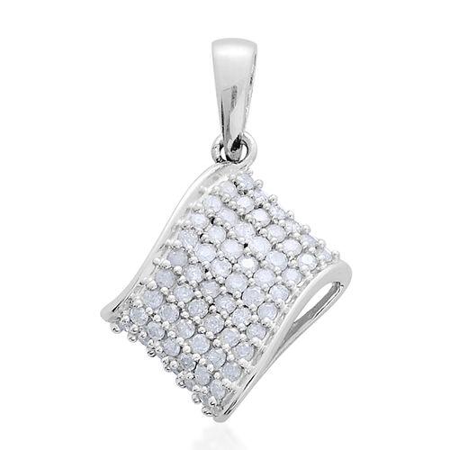 9K White Gold SGL Certified Diamond (Rnd) (I3/G-H) Cluster Pendant 0.500 Ct.