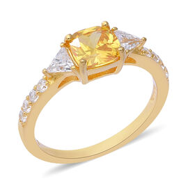 ELANZA Simulated Canary Diamond (Cush), Simulated Diamond Ring (Size Q) in Yellow Gold Overlay Sterling Silve