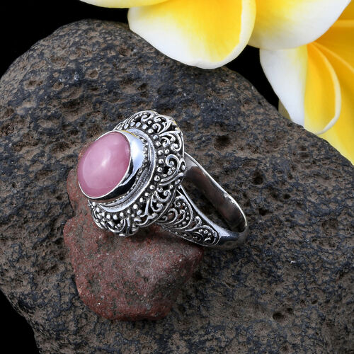 Royal Bali Collection Pink Jade (Ovl) Filigree Ring in Sterling Silver 6.063 Ct. Silver wt 6.80 Gms.