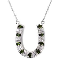GP Russian Diopside (Ovl), Natural Cambodian Zircon and Blue Sapphire Horseshoe Necklace (Size 18) i