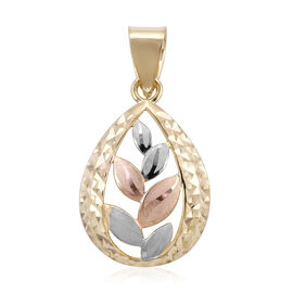Royal Bali Collection - 9K Yellow, White and Rose Gold Leaf Pendant