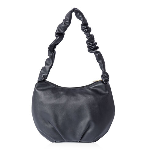 Black Hobo Bag with Zipper Closure (Size 18x9x19cm)