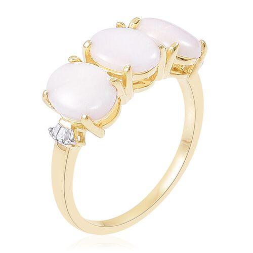 9K Yellow Gold 2.57 Ct AA Australian White Opal Ring with Diamond