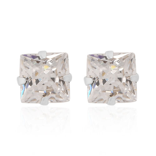 New York Close Out Deal- 9K White Gold Cubic Zirconia Stud Earrings (with Push Back)
