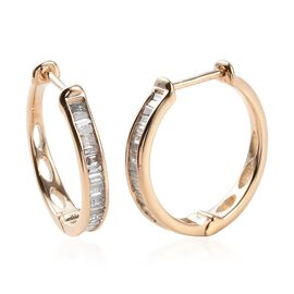 9K Yellow Gold Natural Diamond (Bgt) Hoop Earrings (with Clasp Lock) 0.50 Ct.