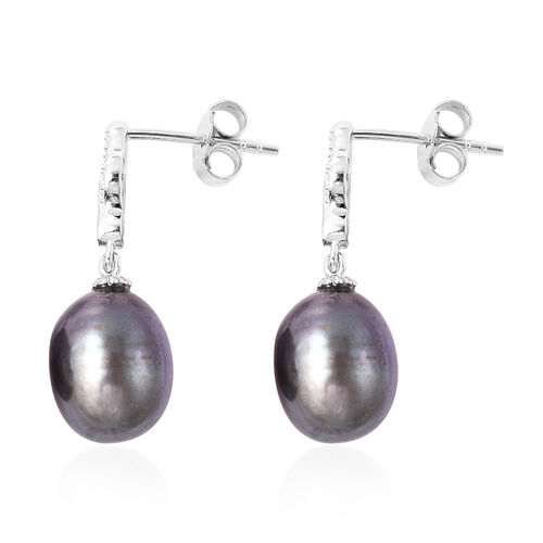 Freshwater Peacock Pearl Drop earrings (with Push Back) in Rhodium Overlay Sterling Silver