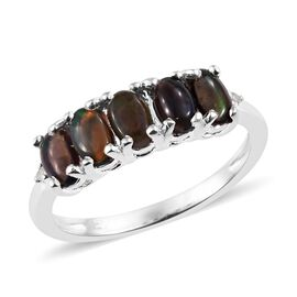 One Time Deal- Sable Ethiopian Opal (Ovl), Diamond Ring in Sterling Silver 1.00 Ct.
