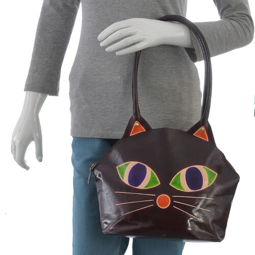 100% Genuine Leather Brown and Multi Colour Cat Face Hand Painted Shoulder Bag with RFID Blocking (Size 35x25x14 Cm)
