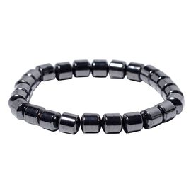 Hematite Stretchable Barrel Bracelet (Size 7) 194.00 Ct.