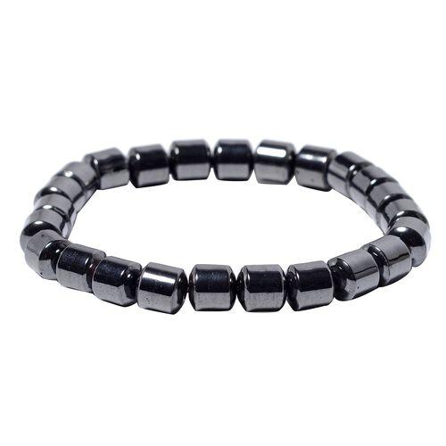 Hematite Stretchable Barrel Bracelet (Size 7) 194.00 Ct.