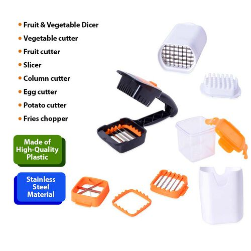 Multifunctional Vegetable Cutter (Size 21.5x4 Cm) and French Fries Chopper (Size 8x9x13 Cm) - Black, White and Orange