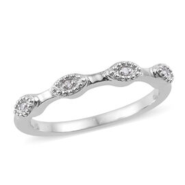 Diamond (Rnd) Stacker Band Ring in Platinum Overlay Sterling Silver
