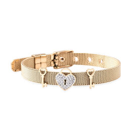 White Austrian Crystal Love Heart Lock and Key Mesh Chain Bracelet (Size 6-7) in Yellow Gold Plated