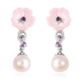Jardin Collection - Pink Mother of Pearl, Freshwater Pearl and Amethyst Floral Earrings (with Push B