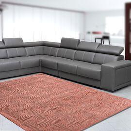 Vivaz Collection - Abstract Circular Geometric Pattern Jacquard Carpet (Size 140x200 Cm) - Coral