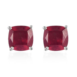 9K White Gold AAA African Ruby (Cush) Stud Earrings (with Push Back) 2.750 Ct.