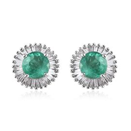 2.95 Ct AA Zambian Emerald and Diamond Halo Earrings in Rose Gold Vermeil Silver