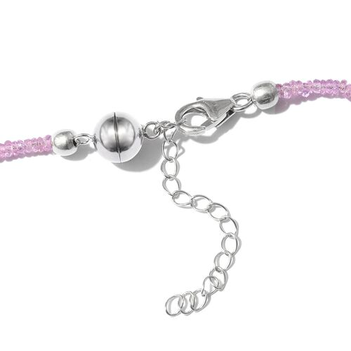 Natural Pink Sapphire Beads Necklace (Size 18 with 2 inch Extender) in Platinum Overlay Sterling Silver 35.040 Ct.