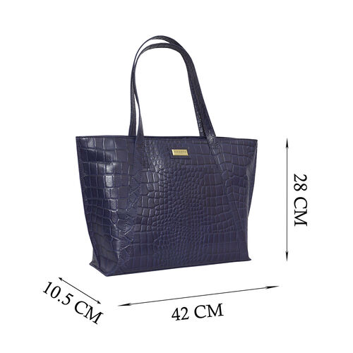 Assots London AGNES Croc Embossed Genuine Leather Tote Bag with Zipper Closure (Size 33x11x26 Cm) - Navy