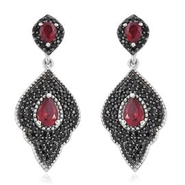 African Ruby (Pear), Boi Ploi Black Spinel Earrings (with Push Back) in Platinum Overlay Sterling Silver 3.750 Ct. Silver wt 8.58 Gms. Number of Gemstone 132