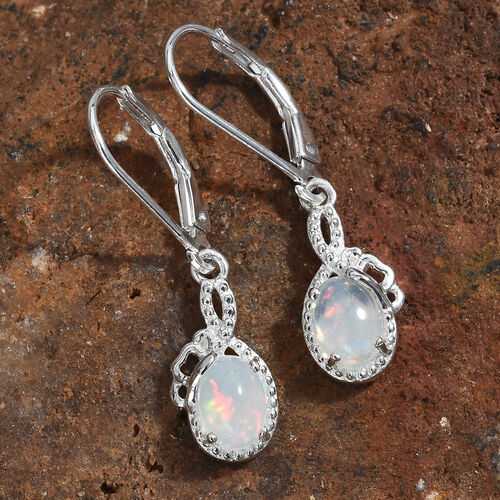 Ethiopian Welo Opal (Ovl) Lever Back Earrings in Sterling Silver 1.000 Ct.