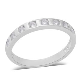 ELANZA Simulated Diamond Eternity Band Ring in Rhodium Plated Sterling Silver