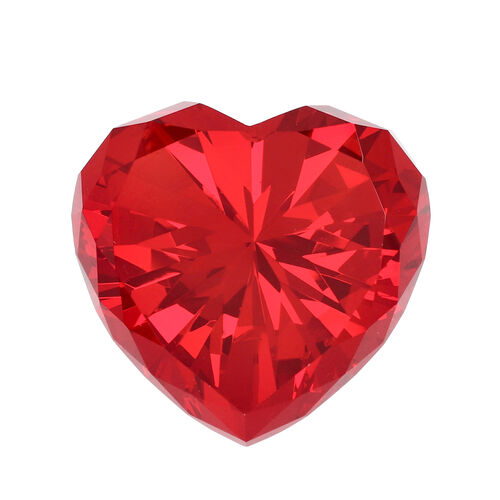 Home Decor - Ruby Colour Red Heart Crystal (Size 8X7.8X5cm)