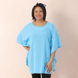 JOVIE Solid Colour Chiffon Kaftan - Blue