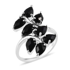 Black Onyx (Pear 6x4 mm) Leaf Bypass Ring (Size V) in Sterling Silver 2.75 Ct.