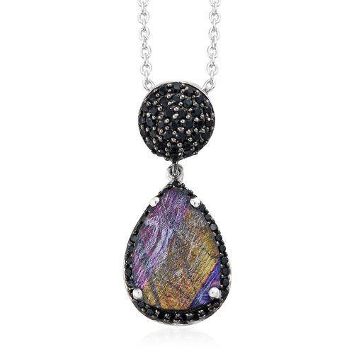 Natural Spectrolite (Pear 2.85 Ct), Boi Ploi Black Spinel Drop Pendant with Chain in Platinum Overlay Sterling Silver 3.750 Ct.