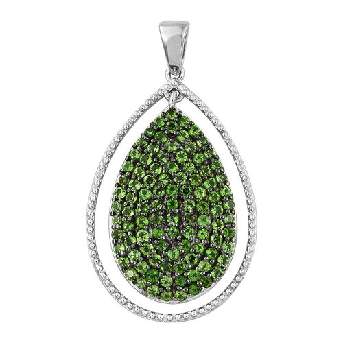 Limited Edition- Designer Inspired Russian Diopside (Rnd) Drop Pendant in Platinum Overlay Sterling Silver 2.500 Ct. Silver wt 6.06 Gms.