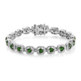 J Francis Fern Green Crystal from Swarovski Tennis Design Bracelet in Platinum Plated 7.5 Inch