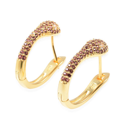 Rhodolite Garnet (Rnd), Natural White Cambodian Zircon Snake Earrings (with Clasp) in Yellow Gold Overlay Sterling Silver 1.26 Ct, Silver wt 6.30 Gms