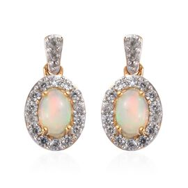Ethiopian Welo Opal and Natural Cambodian Zircon Earrings (with Push Back) in 14K Gold Overlay Sterl