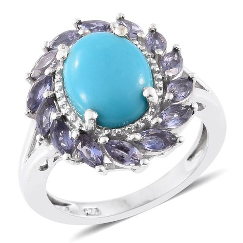 Arizona Sleeping Beauty Turquoise (Ovl 2.10 Ct), Iolite Ring in Platinum Overlay Sterling Silver 3.0